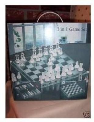 Chess Checkers Backgammon Set 3 In 1 Glass Setchess/Checkers/Backgammon Board Game