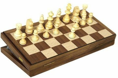 John N. Hansen Travel Magnetic Walnut Chess Set Board Game