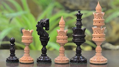 Chessbazaar The Lotus Series Handcarved Wooden Chess Pieces In Ebony Board Game