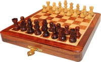 Fun Rally Wooden Magnetic Small 5 inch Chess Board(Brown, Yellow)