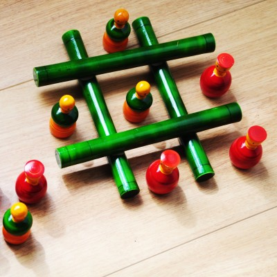 Kalaplanet Handcrafted Wooden Tic-Tac-Toe Game Board Game