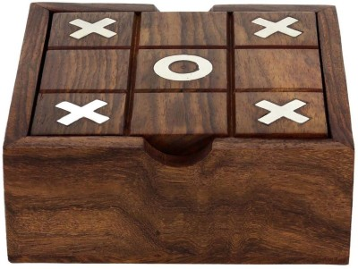 Crafts,man Wooden Tic tac Toe with Solitare 2 in 1 A perfect Kid Board Game