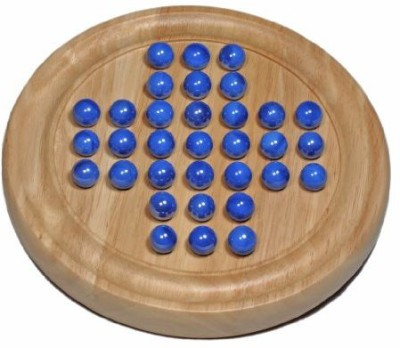 Wood Expressions Wesolid Wood Solitaire With Blue Glass Marbles Board Game