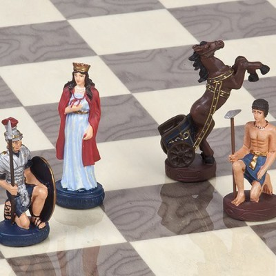 Bello Games New York, Inc. Hand Painted Romans & Egyptian Chessmen Board Game