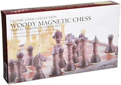 Classic Game Collection Woody Magnetic Travel Chess Set Board Game