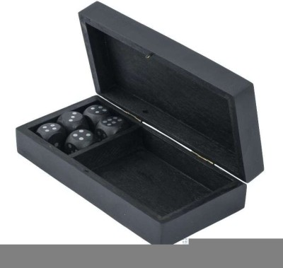Craft Art India Handmade Wooden Black Coloured Single Playing Card Box Wood and 5 Dice Board Game