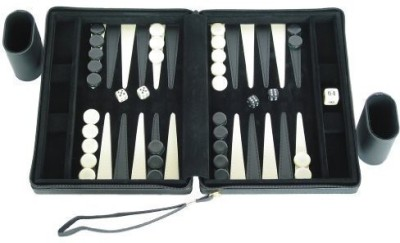 Silverman & Co. Portfolio Backgammon Set Black Board Game