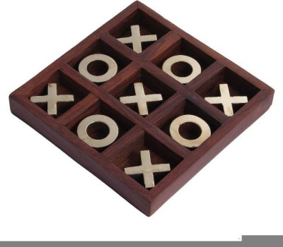 Craft Art India Brown Tic Tac Toe Board Indoor Game Puzzle Wooden Board Game