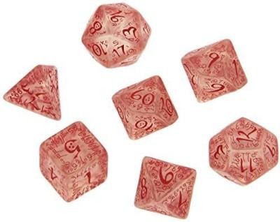 Q Workshop Elvish Dice Transparent/Red (7) Board Game