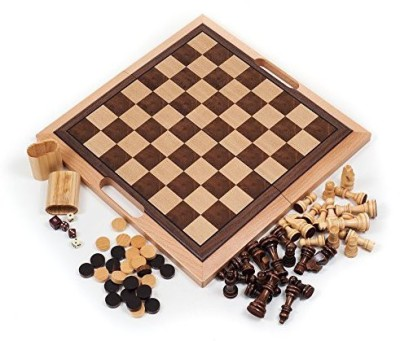 Trademark Games Deluxe Wooden Chesschecker And Backgammon Setbrown Board Game