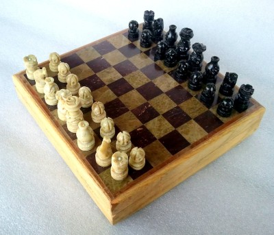 Stonkraft 8 x 8 inches Handcrafted Marble Stone Inlay Chess Game Board Set and Stone Carved Pieces Board Game