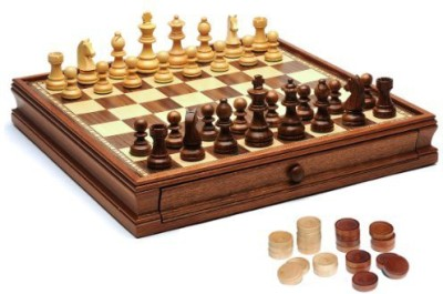 WE Games French Staunton Chess & Checkers Set Weighted Pieces Board Game