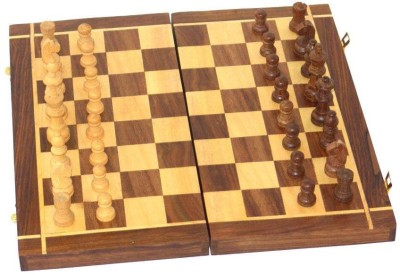 Seema Crafts Wooden Chess 10 inch With 32 Coins and Non Magnetic Board Game
