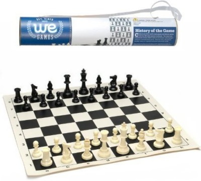 WE Games Rollup Travel Chess Set In Carry Tube With Shoulder Strap Board Game