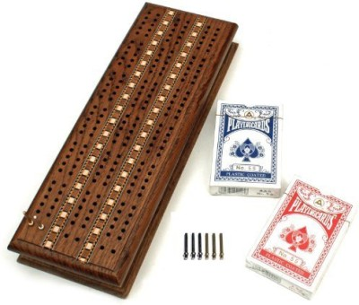 WE Games Cabinet Cribbage Set Solid Oak Medium Stained Wood Board Game
