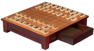 Yellow Mountain Imports Wooden Shogi Japanese Chess Table W/ Drawers And Chessmen Board Game