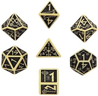 Q Workshop Dwarven Dice Beige/Black (7) Board Game