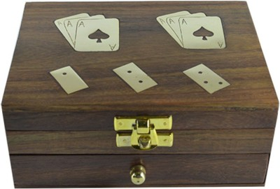 Craftuno Handcrafted Wooden Playing Card & Domino Box Board Game