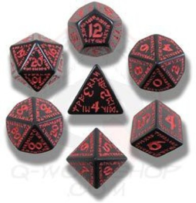 Q Workshop Runic Dice Black/Red (7) Board Game