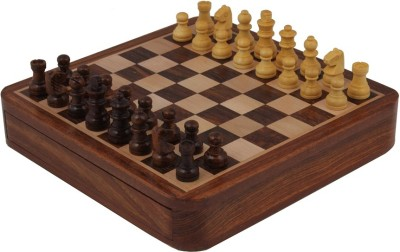 Craft Art India Brown Square Wooden Chess And Magnetic Pieces Set With Storage 10 X 10 Inches Board Game