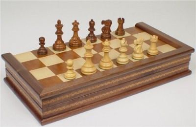 The Chess Store Deluxe Old Club Staunton Chess Set In Golden Rosewood Board Game