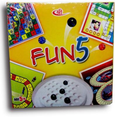 Shree Creations Fun 5 (5 In 1 Game Pack) Board Game
