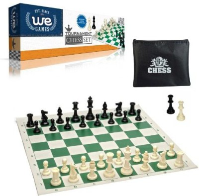 WE Games Tournament Style Chess Set With Green Tournament Rollup Board Game