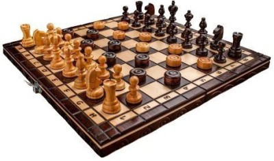Prime Chess Brand New Cherry Wooden Chess And Draughts Set 13,7