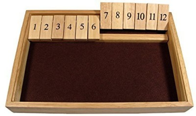 WE Games Deluxe Wood Shut The Box 12 Numbers Board Game