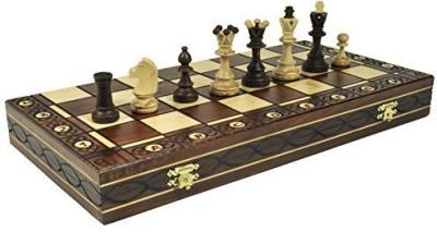 Wegiel Brown Senator Wooden Chess Set Weighted Chessmen 16 X 16