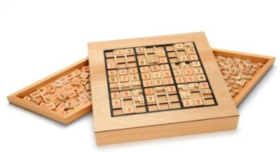 WE Games Deluxe Wooden Sudoku Puzzle With Wooden Number Board Game