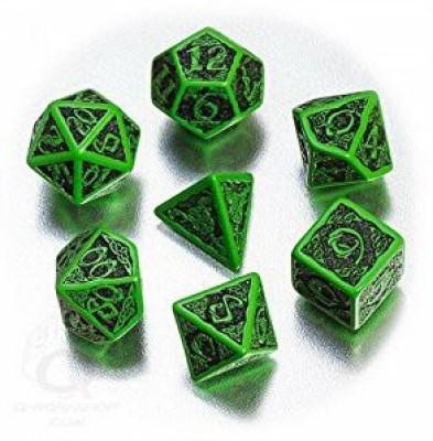 Q Workshop Celtic 3D Dice Green/Black (7) Board Game