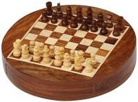 "SouvNear Chess Set Sale 7"" Inch Round Wooden Mini Travel Chess Set Board Game"