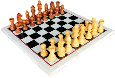 Stonkraft Collectible Marble Chess Game Board Set Wooden Crafted Pieces Board Game