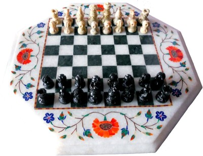 Stonkraft Collectible White Octagone Marble Indian Pietra Dura Chess Board Game Set Board Game