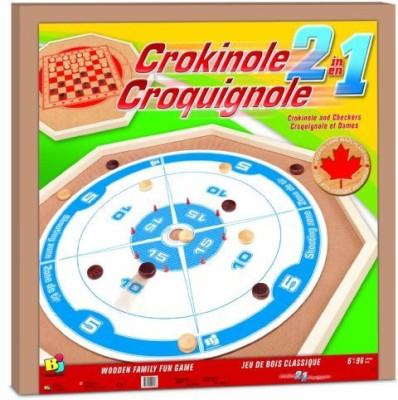 Bojeux Crokinole 2In1 Wooden Board Game