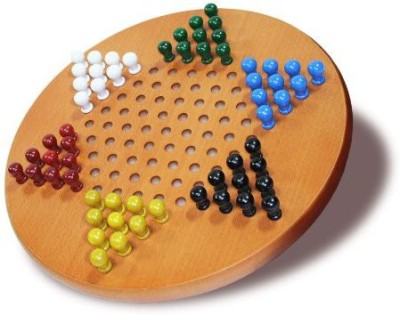 WE Games Solid Wood Chinese Checkers With Wooden Pegs 115 Inch Board Game
