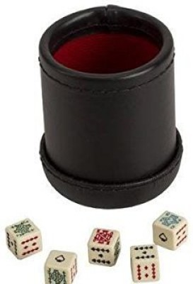 CHH Deluxe Leather Like Dice Cup With 5 Poker Dice Black/Cream Board Game