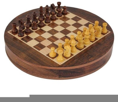 Craft Art India Round Wooden Indoor / Outdoor Game Chess Set With Storage (diameter - 9 Inches) Board Game