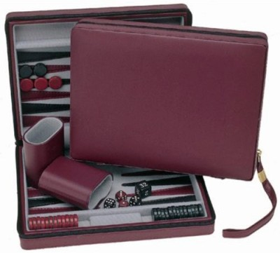 Wood Expressions Weburgundy Magnetic Backgammon Set With Carrying Strap Board Game