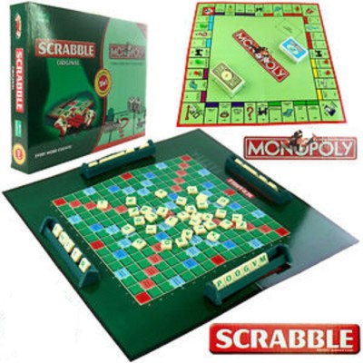 Stuff Jam 2 In 1 Scrabble & Monopoly For 2 - 4 Players Board Game
