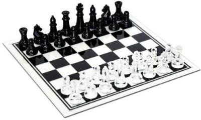 WE Games Black And Clear Glass Chess Set Board Game