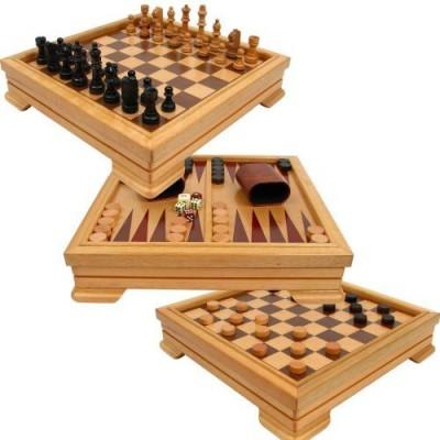 Trademark Games Deluxe 7In1 Set Chesscheckersbackgammon And Morebrown Board Game