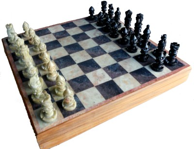 Stonkraft 10 x 10 inches Handcrafted Marble Stone Inlay Chess Game Board Set and Stone Carved Pieces Board Game