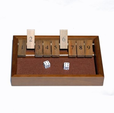 WE Games Shut The Box 9 Numbers With Dark Stained Wood Board Game