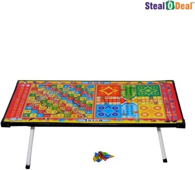 Stealodeal Multipurpose Laminated Table - Ludo, Snakes & Ladders Board Game
