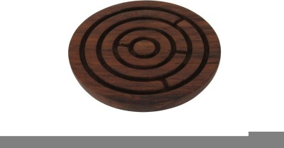 Craft Art India Brown Handcrafted Wooden Labyrinth Board Indoor Game Round (diameter - 6 Inches) Board Game