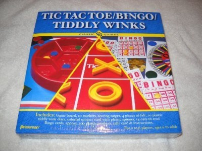 Pressman Toy Classic Tic Tac Toe/Bingo/Tiddly Winks Board Game