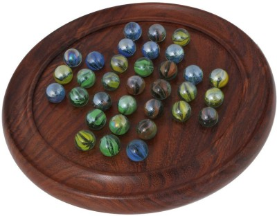 Craft Art India Brown Wooden Solitaire Puzzles Indoor Game With Marbles (diameter - 11.5 Inches) Board Game