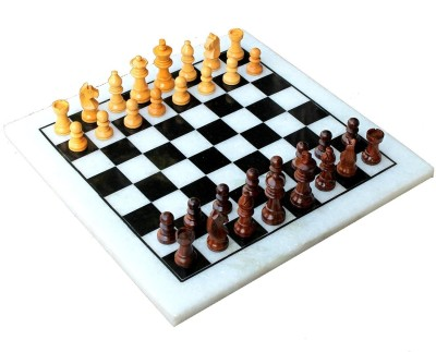 Stonkraft 12 x12 inches Indian Collectible White Marble Chess Set and Wood Made Pieces Board Game